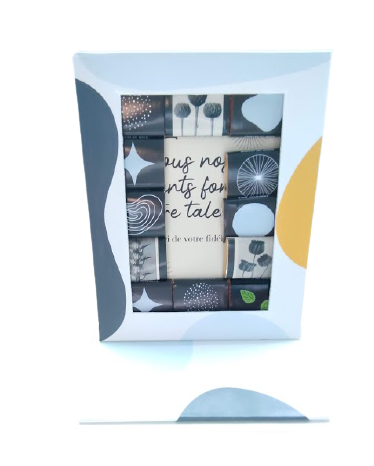 Un emballage de chocolats se transforme en cadre photo. Un packaging éco-responsable et durable.